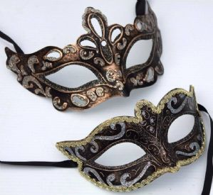 Black, Silver and Gold Masquerade Masks - Couples Masquerade Masks | Masks and Tiaras